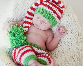 Download PDF crochet pattern s021 - Newborn elf hat and shorts, Baby Christmas outfit