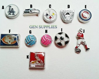 Sports Theme Floating Charms, Charms For Floating Memory Lockets, Floating Glass Locket, Personalized Floating Memory Locket