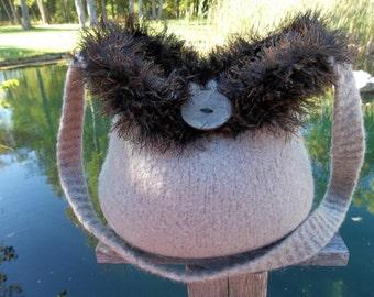 13-1190 hand knit felted wool purse tote handbag f.s.