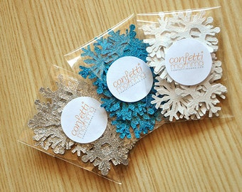 Frozen Birthday Party Decoration Mini Confetti 3 Packs 25CT Each.  Handcrafted in 2-3 Business Days.  Mini Snowflake Confetti.