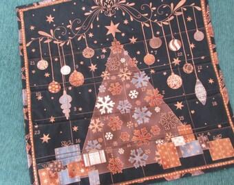 Brilliant Christmas Advent Calendar, Modern Christmas Tree, Copper Bronze on Black Christmas Decoration, Wallhanging, Holiday Decor