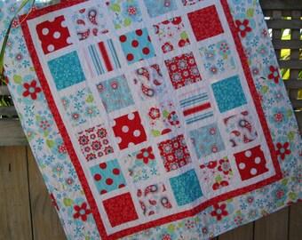 Baby Girl Quilt, Red White Aqua Girl Nursery Bedding, Baby Girl Blanket, Modern Baby Quilt, Crib bedding, Baby Shower Gift,