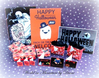 Dollhouse Halloween Gift Box, cards and Poster Digital Download, 1:12 Halloween Gift Box  cards and Poster Printables,