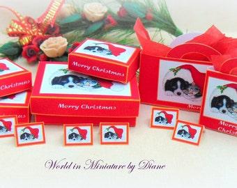 Dollhouse Tutorial Christmas Gift Box, Dollhouse Digital Download 1:12 Christmas Gift Box Kit, PDF, Puppies and Kittens