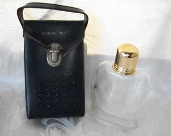 Vintage 1963 Black Case and glass bottle