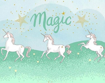 Michael Miller Magic Unicorn Parade - Double Border with Cotton Metallic fabric - 1 yard