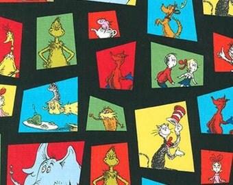 Robert Kaufman Black Dr Seuss Celebrate Suess Fabric 1 yard