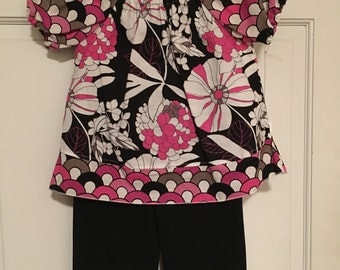 Custom Boutique 2t Peasant Top and Ruffle Pants Set Pink and Black Retro Flower