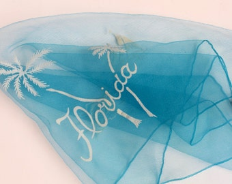 Vintage Florida Scarf- Sheer Blue Chiffon Scarf Flocked Design