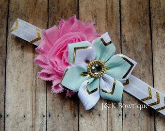 Shabby and Ribbon flower headband...Aqua...Pink...Gold...newborn...baby girl...photo prop