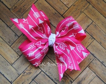 Arrow Classic bow hot pink and white