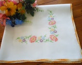 Hand Embroidered Vintage Table Topper Small Tablecloth Table Mat