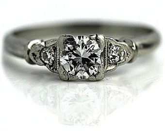 Art Deco Three Stone Antique Engagement Ring Platinum 3 Stone Filigree Ring Antique Diamond Wedding Ring Size 5.5!