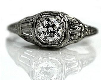 Art Deco Engagement Ring Old European Cut Diamond .45ctw Art Deco Platinum Filigree Vintage Solitaire Diamond Ring Size 5.75!