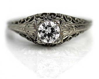 Antique Engagement Ring Art Deco Engagement Ring .60ctw Old European Cut Diamond Filigree Solitaire 18 kt WG Art Deco Diamond Wedding Ring!