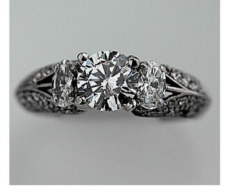 Simon G Unique Vintage Diamond Ring 1.70ctw Simon G Round Cut Diamond Vintage Wedding Ring 18Kt White Gold Engagement Ring Size 7!