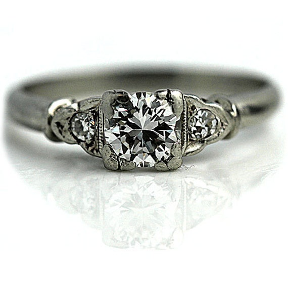 Items similar to Art Deco Three Stone Antique Engagement Ring Platinum 3 Ston