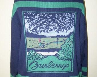 Vintage Burberry Burberrys Sweater w/Golfer Sz L