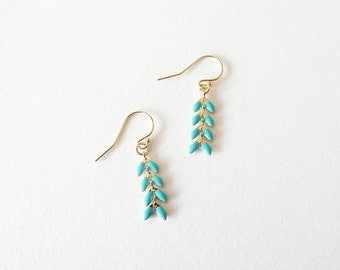 Eve | Turquoise Enameled Chain Earrings | Gold Filled Delicate Dangle Earrings