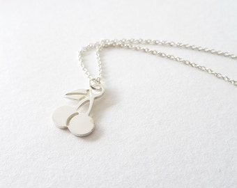 Twin Cherries - sterling silver cherry necklace, friendship necklace
