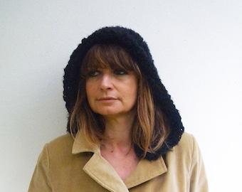 Winter women fashion Black Women hat winter fashion Italian style Black Women beanie hat Bouclé wool Knit crochet hats