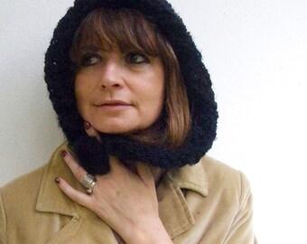 Fall Black Women hat Women beanie hat Knit crochet woman hat with button Bouclé wool Italian style Fall winter women fashion Women gift