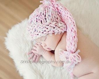 Photo prop newborn baby hat Pink Newborn Photo prop Baptism Knit girl hat Newborn Photography prop Pink Newborn girl hat Gift for Girl