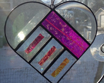 Rainbow Pink Dichroic and Bevel Stained Glass Heart Sun Catcher - Wow!