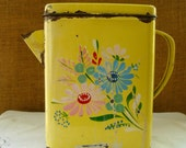 Antique YELLOW CEREAL Can Tin Hand Painted Metal Cereal Dispenser Can Chippy Rustic Painted Metal Cereal Canister ANTIQUE Cereal Canister