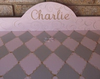 Pink and Grey, GOLD, Toy Boxes, Kids Furniture, Toy Chest, storage, Toy Bin,  Personalized Gifts