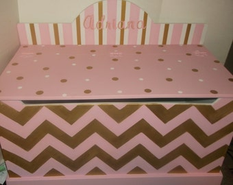 Gold and Pink, Chevron, Kids Furniture, Toy Box, Toy Chest, Nursery Decor, Toy Bin, Toy Storage, Custom Hand Painted Home Living