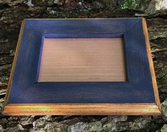 8 x 8 Picture Frame, Rustic Navy Blue Weathered Style Stained With Routed Edges, Home Decor, Rustic Home Decor, Rustic Wood Frames, Rustic