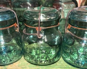 Vintage Blue Glass Atlas E-Z Seal Squatty Fruit Jar; Original Pint Size Wire Bale Sealing Canning Jar 1910s Grandma's Kitchen