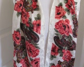 "Beautiful White Floral Shiny Silky Poly Scarf - 10"" x 50"" Long"