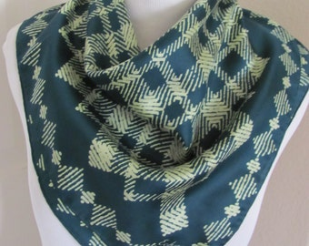 "ECHO // Beautiful Green Plaid Silk Scarf // 23"" Iinch 58cm Square"