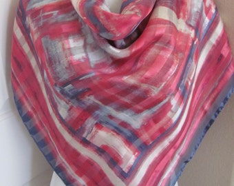 "Zenith // Large Colorful Pink Silk Scarf // 34"" Inch 88cm Square NICE"