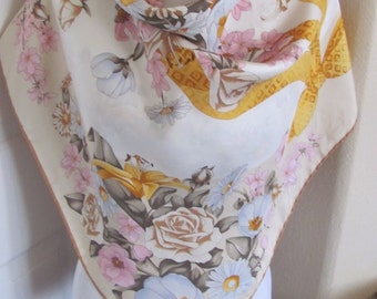 "Beautiful Richel Paris Scarf // Off White Floral Silk Scarf - 34"" Inch 88cm square - OMG My Fav"