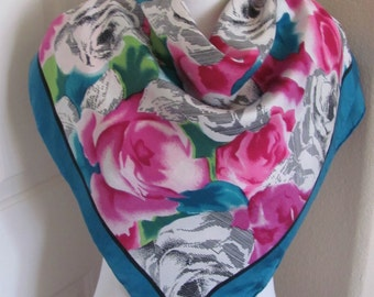 "Scarf OMG Colorful Floral Soft Silk Scarf - 30"" Inch 76cm Square - Best of the Best"
