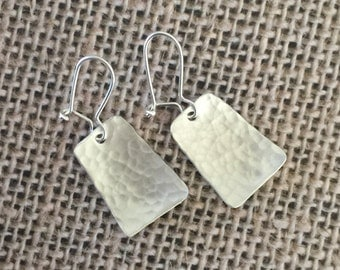 Sterling Silver Hammered Earrings, Sterling Silver Earrings, Hand Cut Sterling Silver Earrings