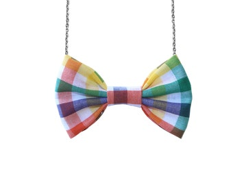 Rainbow Gingham- Bow Tie Necklace , Multicolored Plaid Green Yellow Pink ,Easter, Halloween, Holidays - Women bowtie Party