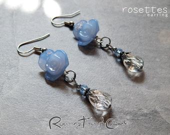 Rosettes earrings [in blue] / Silver plated finish hook drop lightweight earrrings