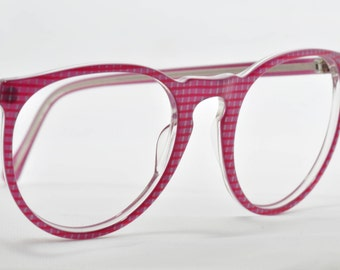 1980s Large Eyeglass Frames, Rose Plaid, NOS or New Old Stock