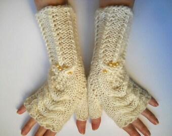 HAND KNITTED GLOVES / Women Accessories Fingerless Mittens Elegant Warm Wrist Warmers / Crochet Winter Cabled Romantic Gift Feminine Arm 620