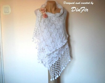 LIQUIDATION Stock SALE 30% OFF / Women Stole Shawl Wedding Bridal Accessories Shrug Hand Knitted Romantic Elegant Feminine Cape Handmade