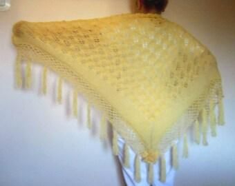 LIQUIDATION Stock SALE 30% OFF / Women Triangle Shawl Wedding Accessories Hand Knitted Shrug Fall Cape Elegant Crochet Capelet Gift Handmade