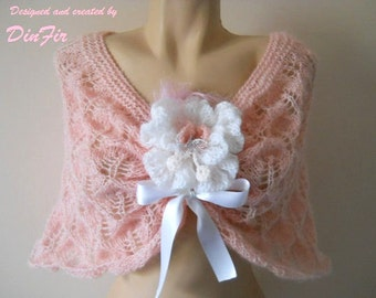 LIQUIDATION Stock SALE 30% OFF /  Women Cape Capelet Wedding Bridal Accessories Shrug Bolero Hand Knitted Pink Gift Elegant Crochet Romantic