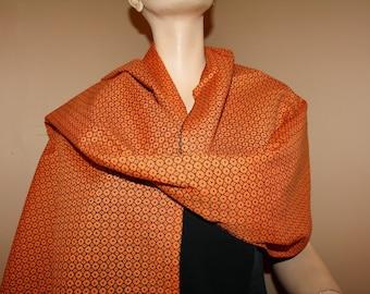 Cotton Shawl Wrap Stole Orange Black Long Knotted Fringe