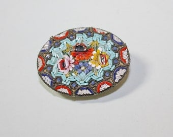 Antique Micro Mosaic Brooch Pin Oval Flowers
