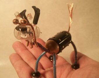 Steampunk Robot Sculpture, Toy-Like Bendable Collectible Animal Figure, Vintage Vacuum Tube Head ,Copper, PVC, Numbered & Initialed Pet Bot