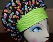 Flip Flops on Black  Banded Bouffant Surgical Cap by Nurseheadwear
